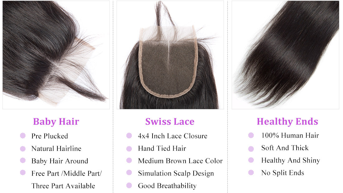 remy straight human hair lace closure details in description