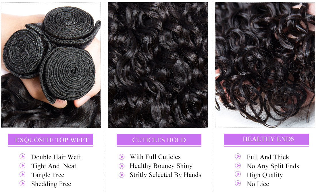 remy water wave human hair bundles details show in description