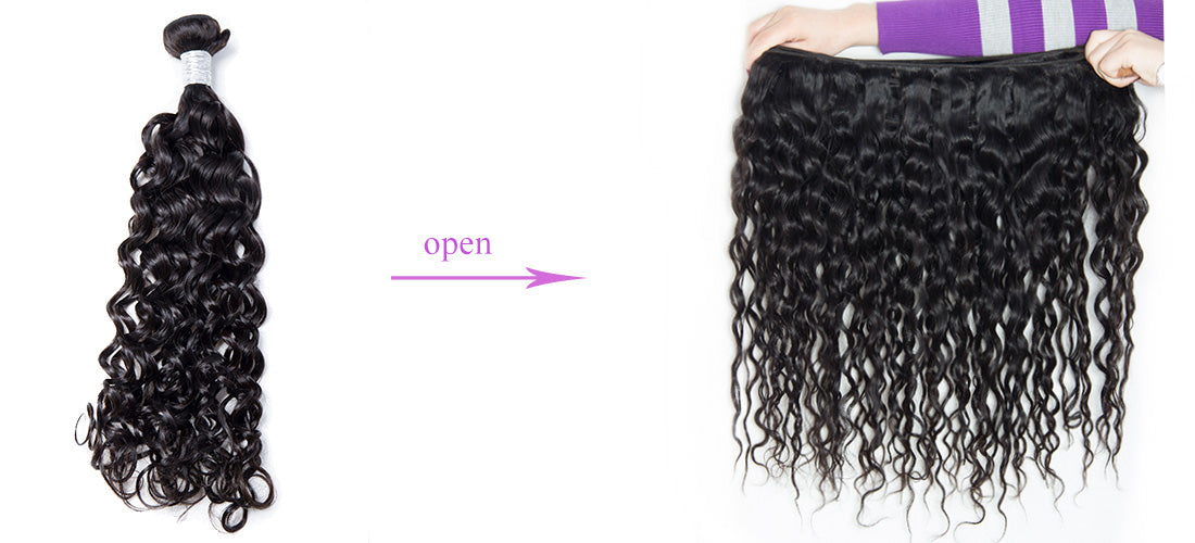 remy water wave human hair weft show in description