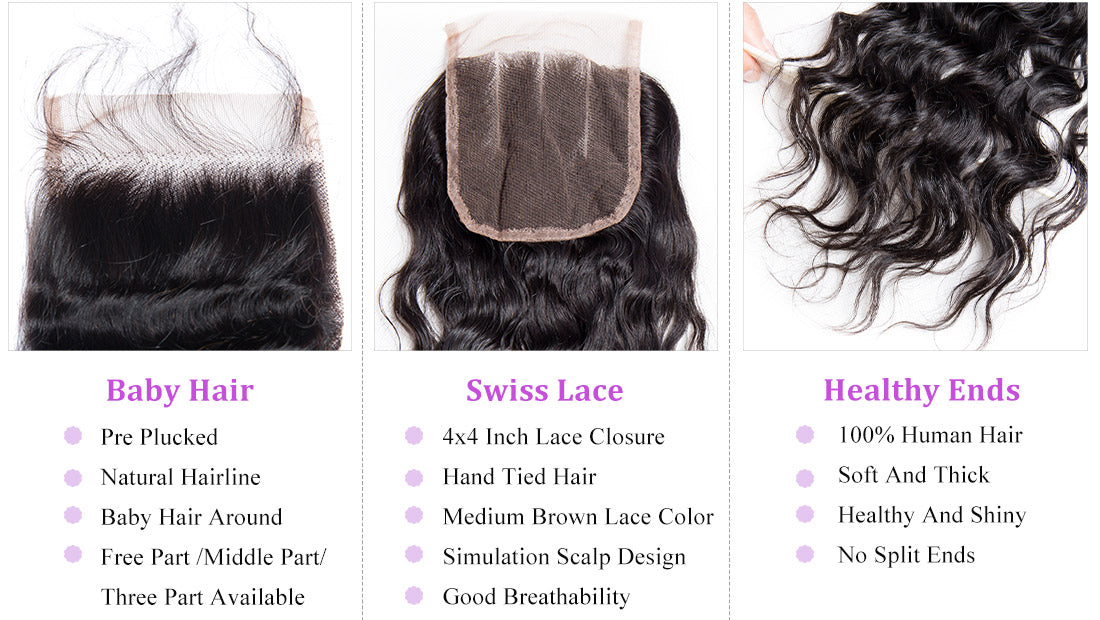 remy water wave human hair lace closure show in description