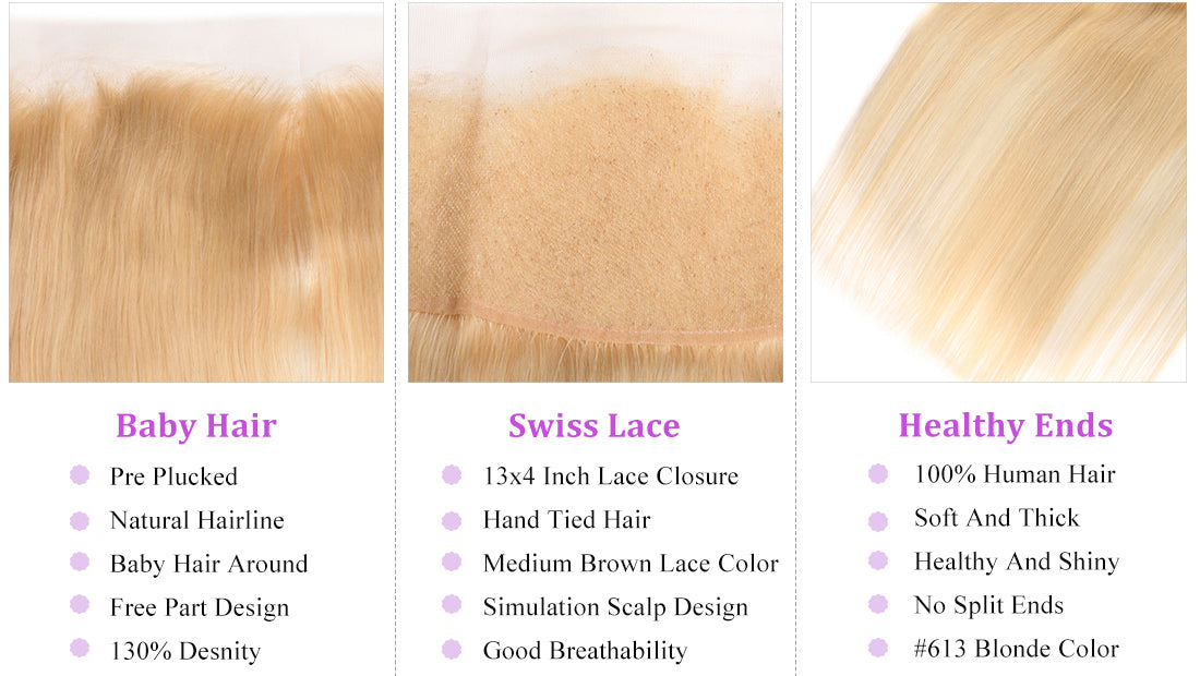 ms 613 blonde color straight lace frontal details show in description