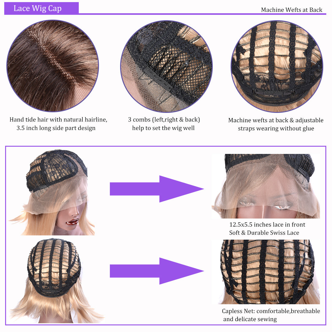 synthetic lace wigs #2 /#4 ombre straight bob wigs cap details show in description