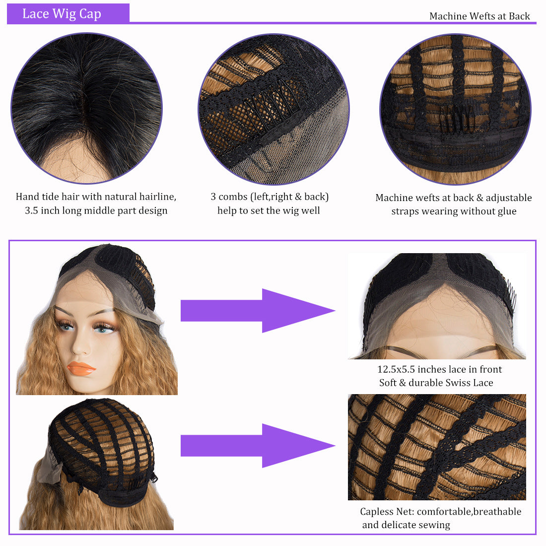 Synthetic lace wigs 1b/#27 water wave ombre wigs cap details show in description