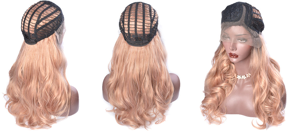 synthetic lace wigs rose golden ombre body wave wigs cap side show in description