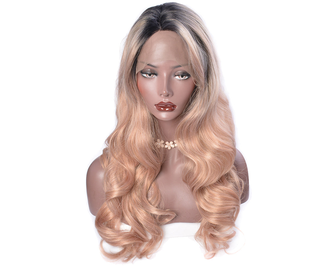 synthetic lace wigs rose golden ombre body wave wigs front show in description
