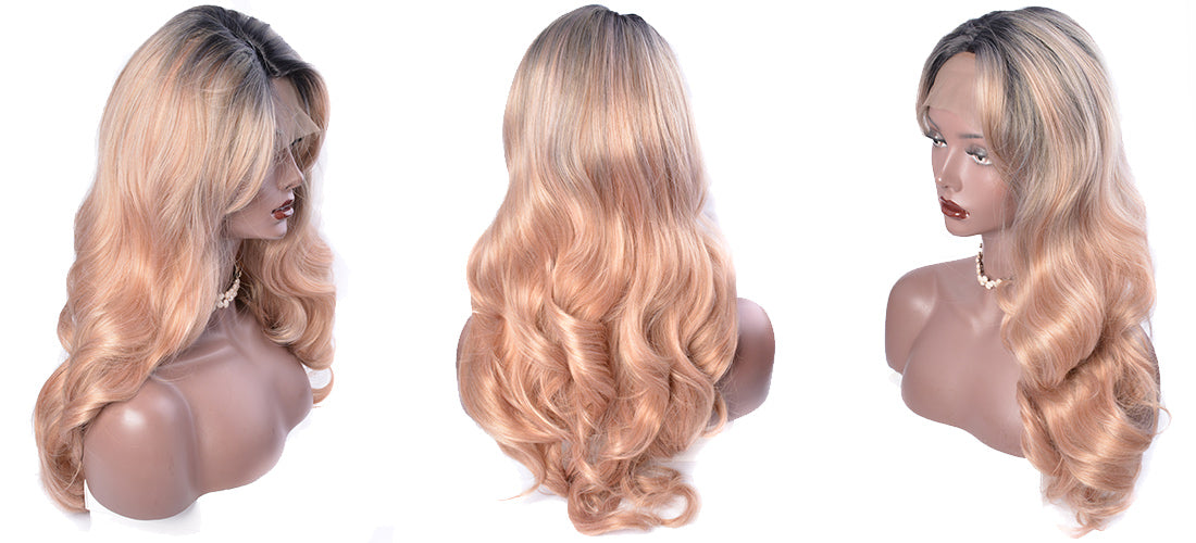 synthetic lace wigs rose golden ombre body wave wigs side show in description