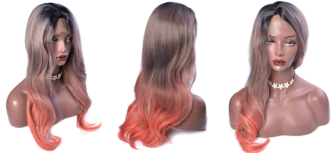 synthetic lace wigs ombre black color to orange color natural wavy wigs side show in description