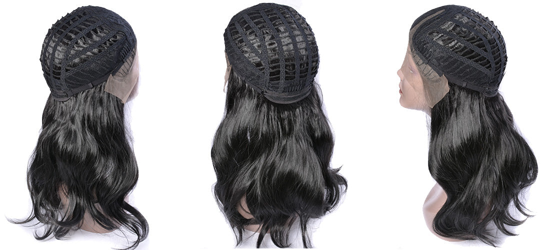 synthetic lace wigs black color body wave wavy wigs cap details show in description