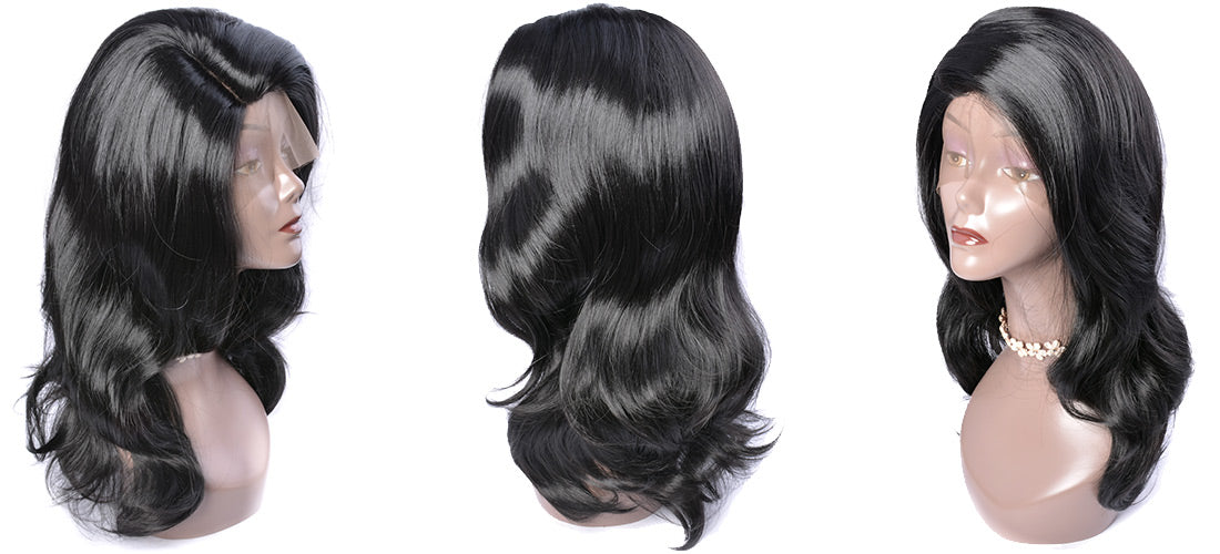 synthetic lace wigs black color body wave wavy wigs side show in description