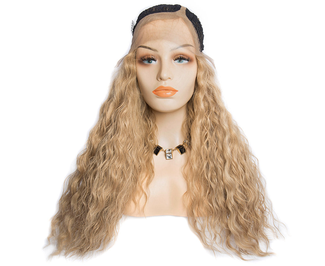 synthetic lace wigs dark blond color water wave wigs front cap show in description