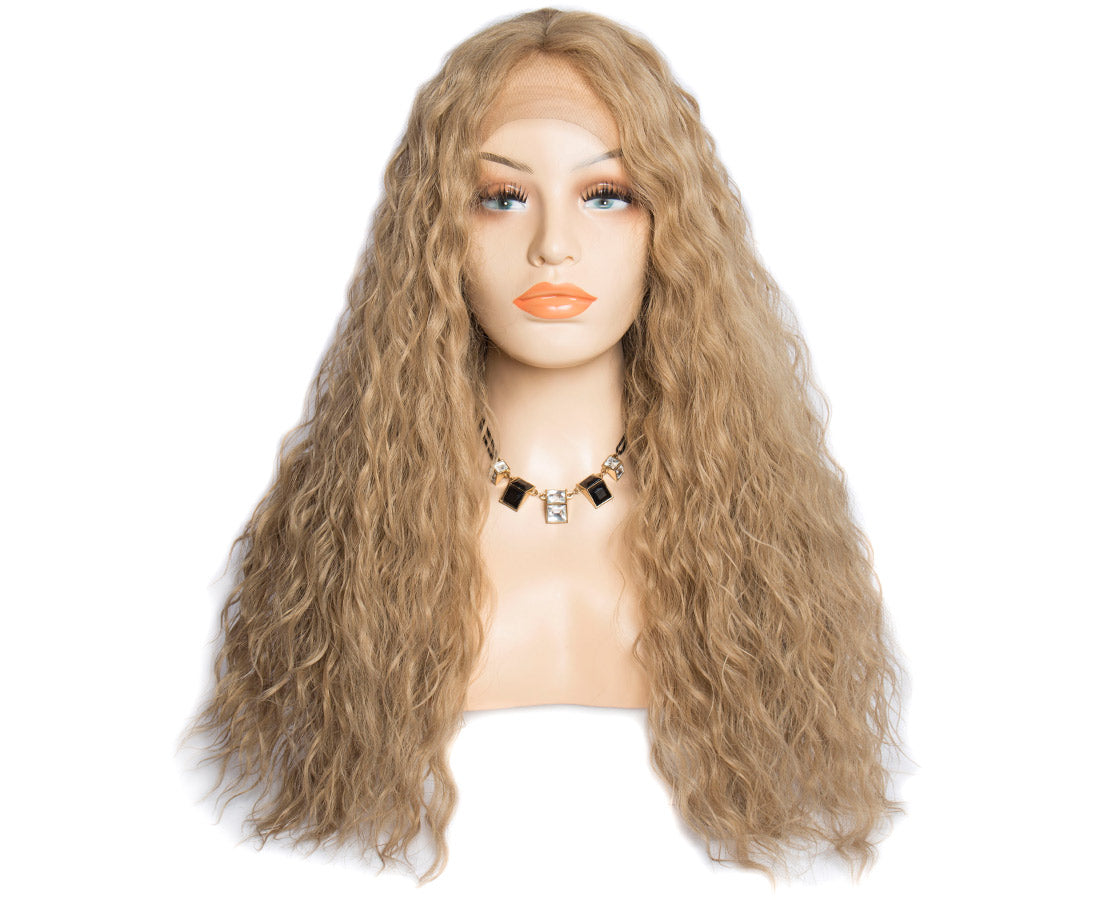 synthetic lace wigs dark blond color water wave wigs front show in description
