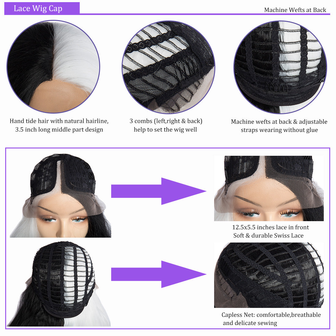 Synthetic Lace Wigs black and white color body wave wigs cap details show in description
