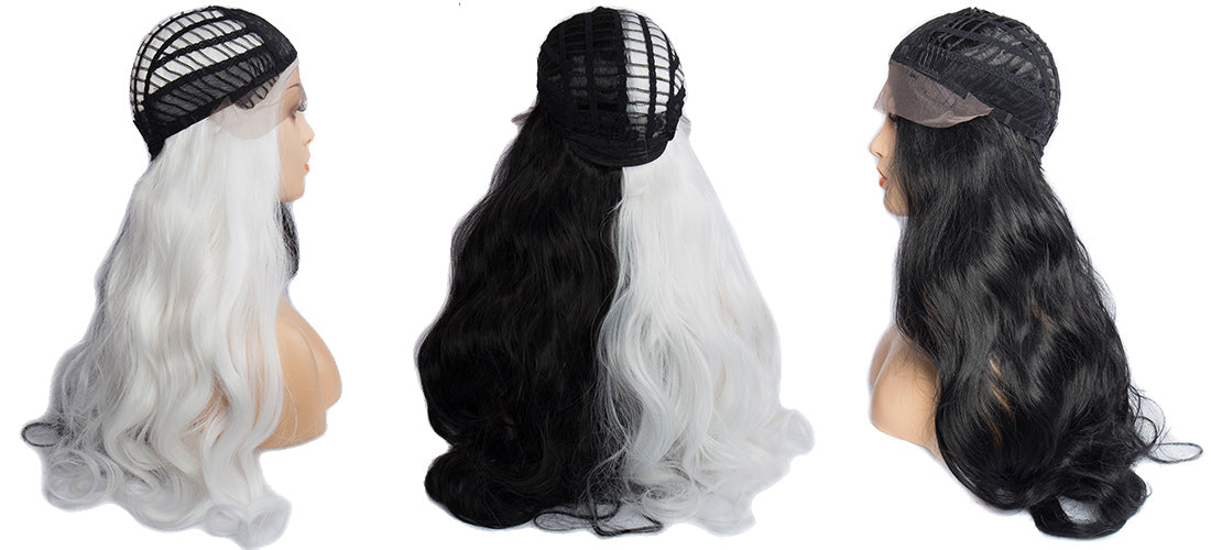 Synthetic Lace Wigs black and white color body wave wigs cap side show in description