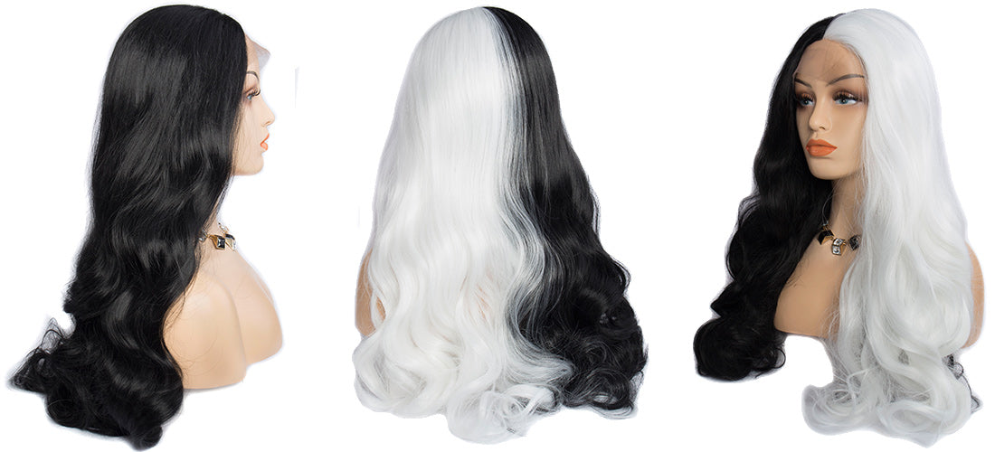 Synthetic Lace Wigs black and white color body wave wigs side show in description