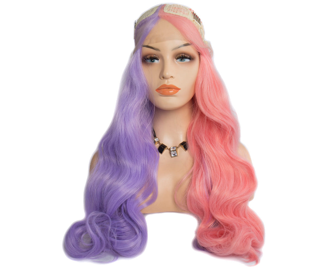 synthetic lace wigs pink purple color body wave wigs front cap show in description
