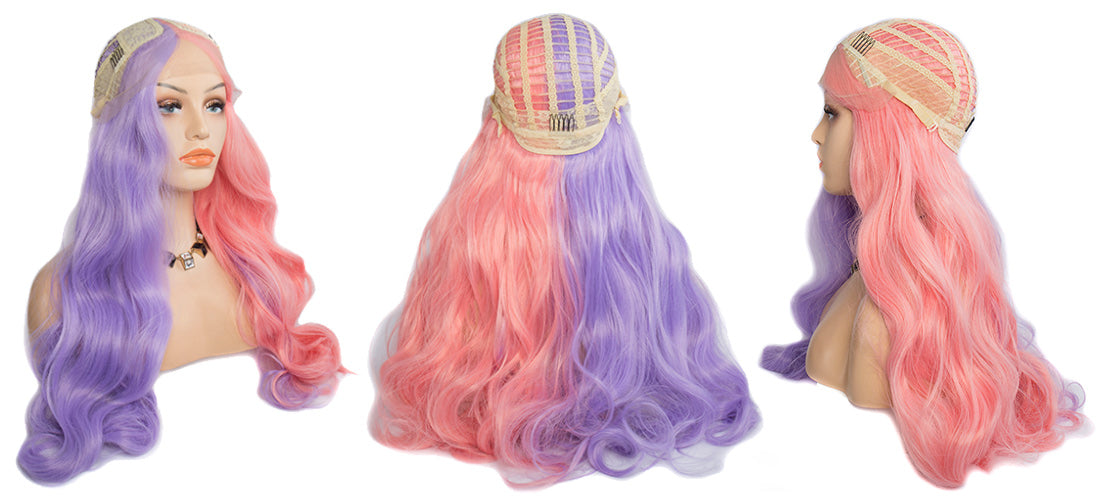 synthetic lace wigs pink purple color body wave wigs cap side show in description