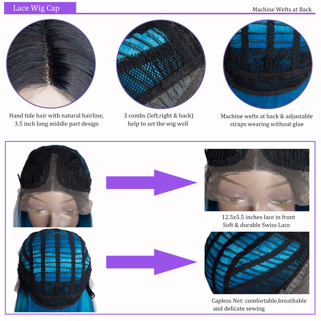 synthetic lace wigs 1b blue color straight bob wigs  cap details in description