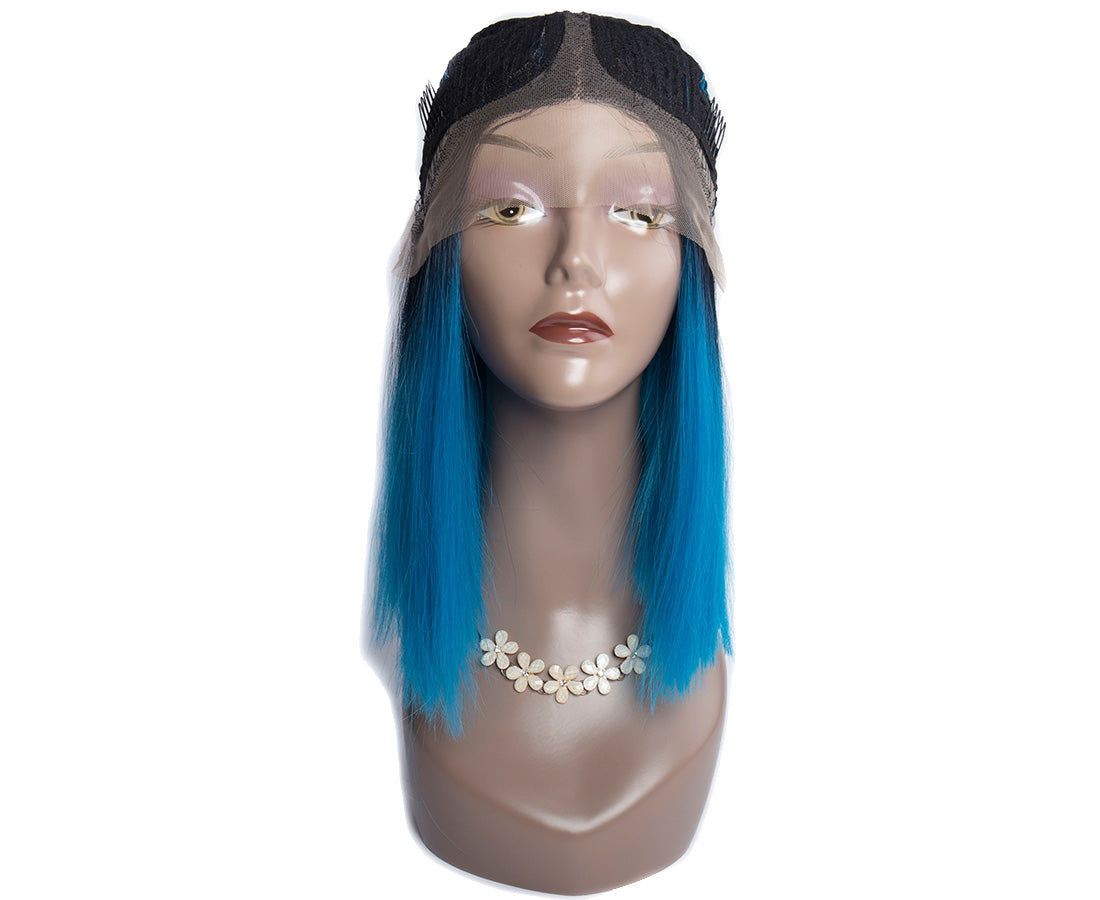 synthetic lace wigs 1b/blue color straight bob wigs front cap show in description