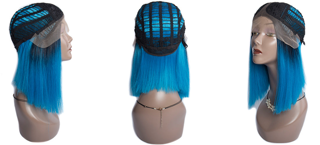 synthetic lace wigs 1b/blue color straight bob wigs cap details show in description