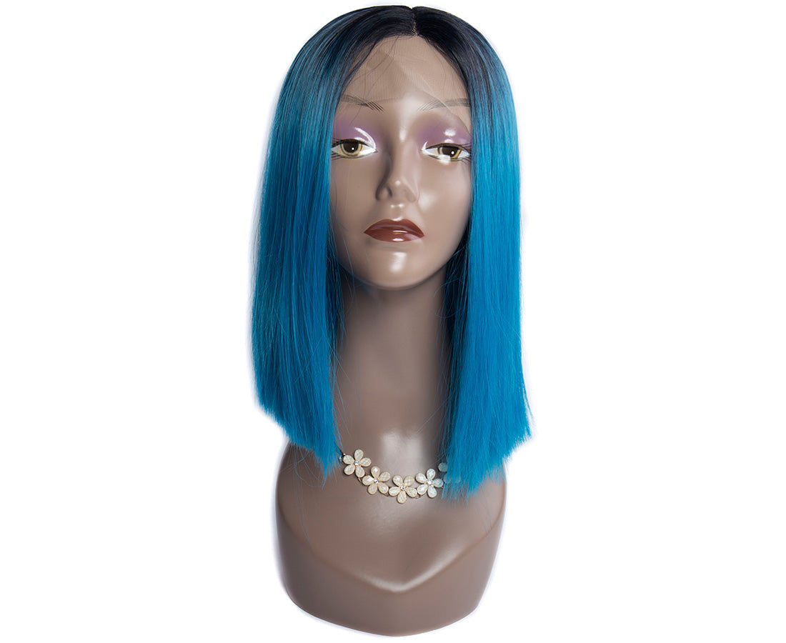 synthetic lace wigs 1b/blue color straight bob wigs front show in description