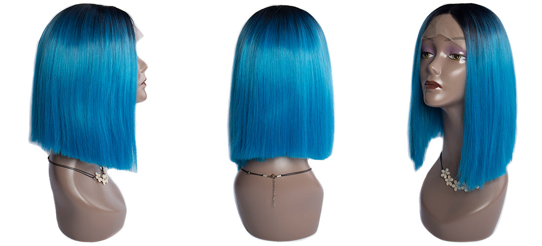 synthetic lace wigs 1b/blue color straight bob wigs side show in description