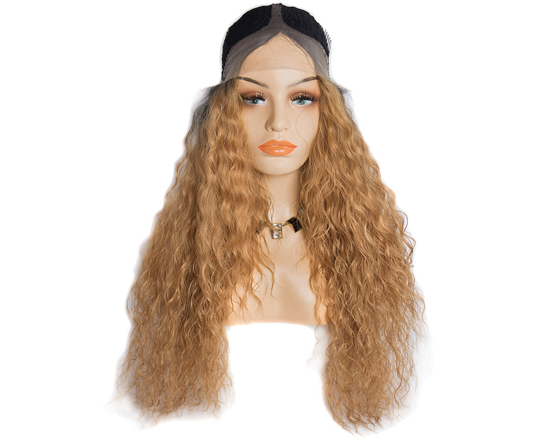 Synthetic lace wigs 1b/#27 water wave ombre wigs front cap show in description
