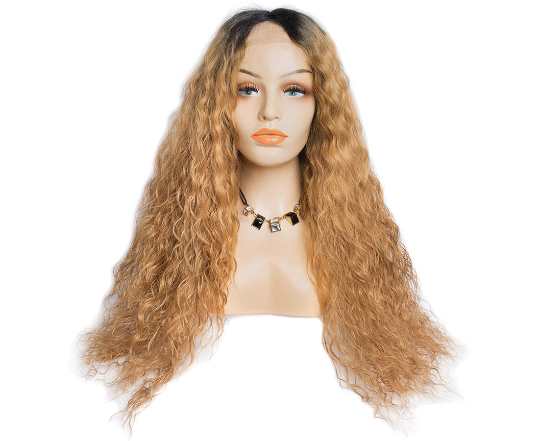 Synthetic lace wigs 1b/#27 water wave ombre wigs front show in description