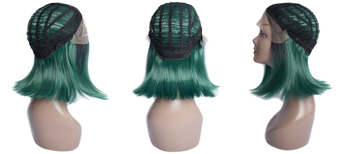 synthetic lace wigs 1b green color short bob wigs cap side show in description