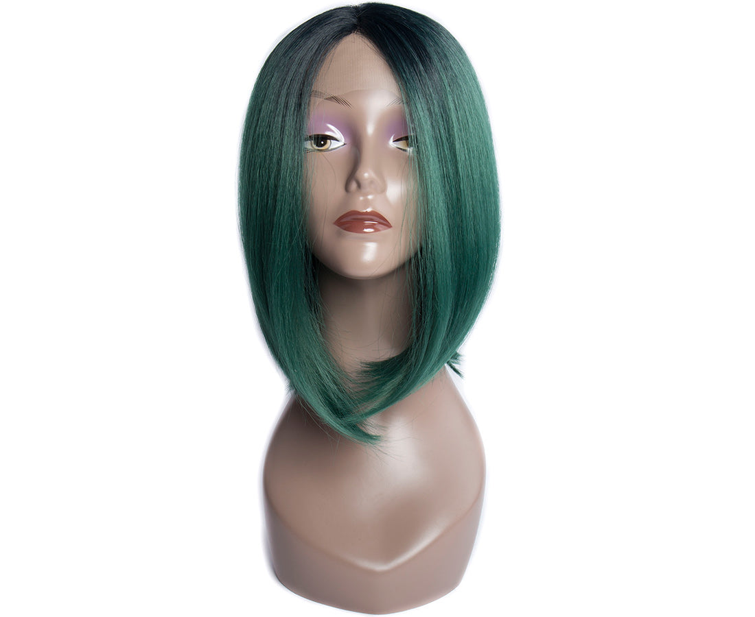 synthetic lace wigs 1b green color short bob wigs front show in description