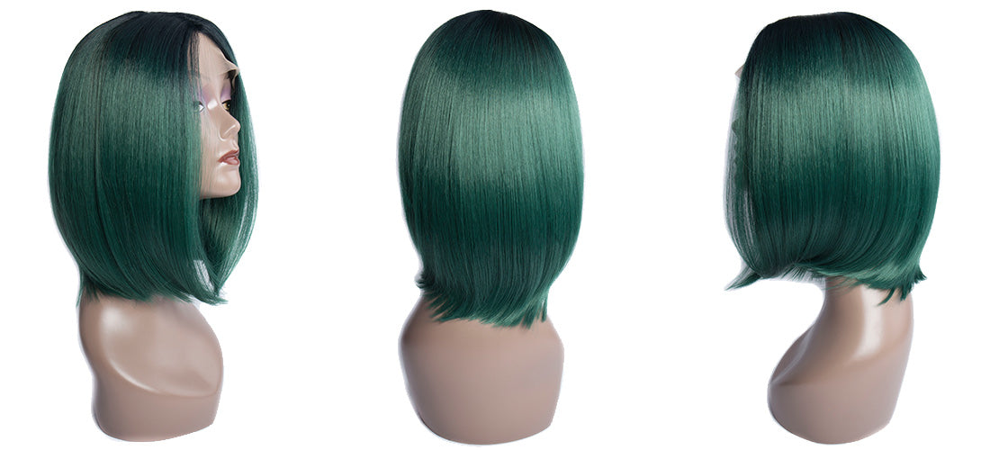 synthetic lace wigs 1b green color short bob wigs side show in description