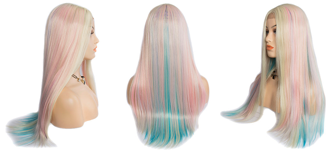 synthetic lace wigs pink blue blond straight wigs side show in description