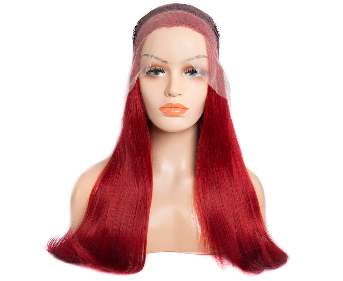synthetic lace wigs red color natural straight wigs front cap show in description