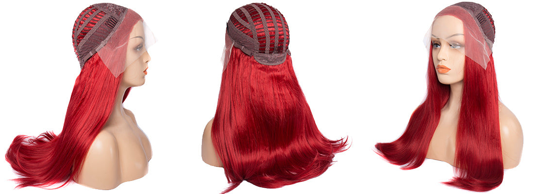 synthetic lace wigs red color natural straight wigs cap details show in description