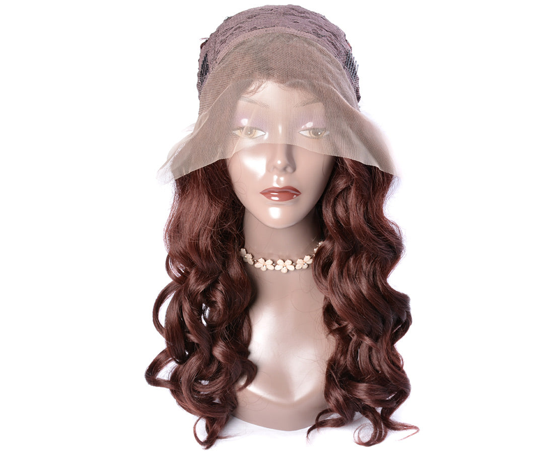synthetic lace wigs dark auburn brown color loose wave wigs front cap show in description