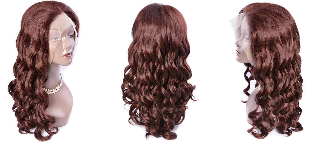 synthetic lace wigs dark auburn brown color loose wave wigs side show in description