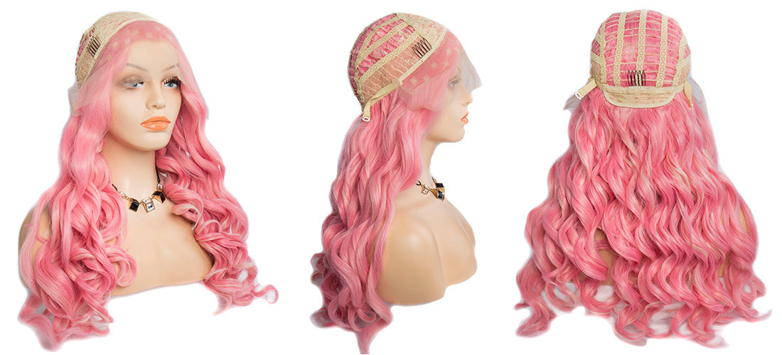 synthetic lace wigs pink color loose wave wigs side cap show in description