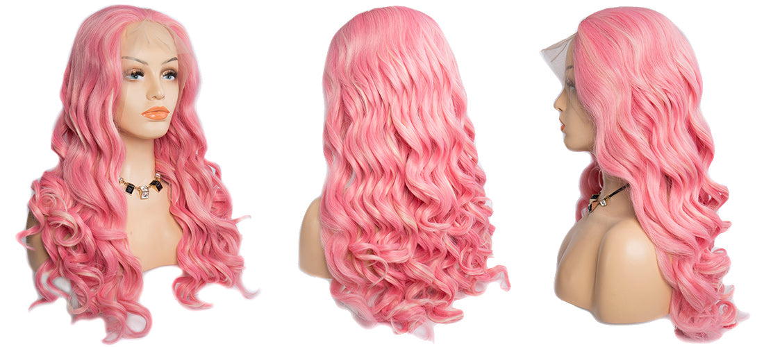 synthetic lace wigs pink color loose wave wigs side show in description