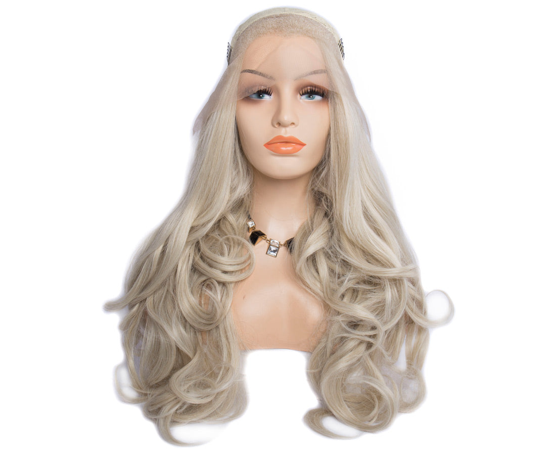 synthetic lace wigs platinum blond color natural wavy body wave wigs front cap show in description