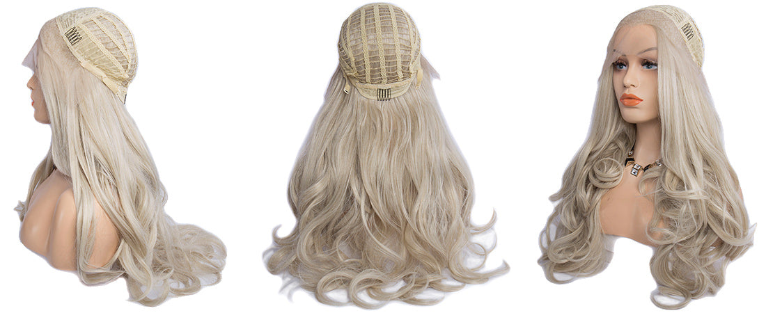 synthetic lace wigs platinum blond color natural wavy body wave wigs side cap show in description