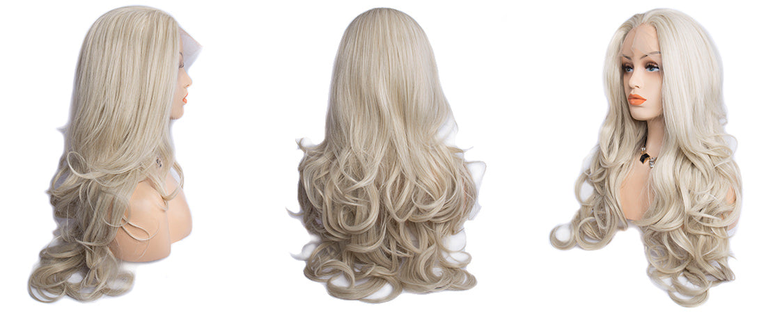synthetic lace wigs platinum blond color natural wavy body wave wigs side show in description