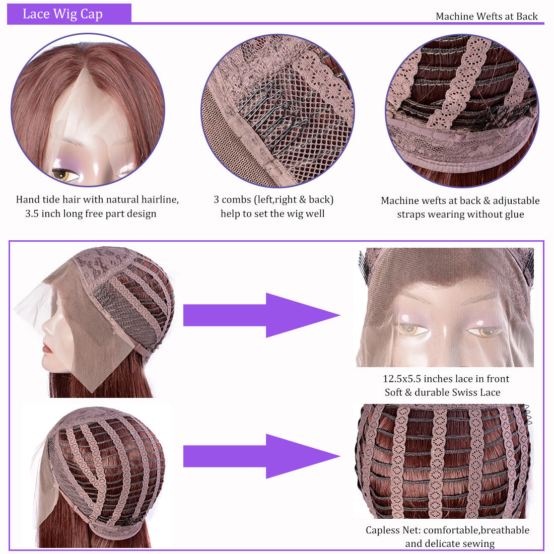 synthetic Lace Wigs #33 dark auburn brown color straight wigs cap details show in description