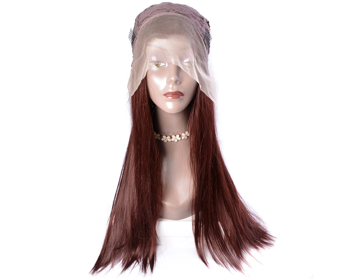 synthetic Lace Wigs #33 dark auburn brown color straight wigs front cap show in description
