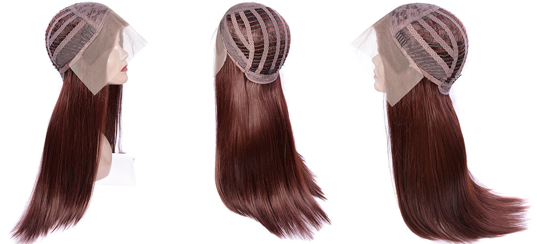 synthetic Lace Wigs #33 dark auburn brown color straight wigs side cap show in description