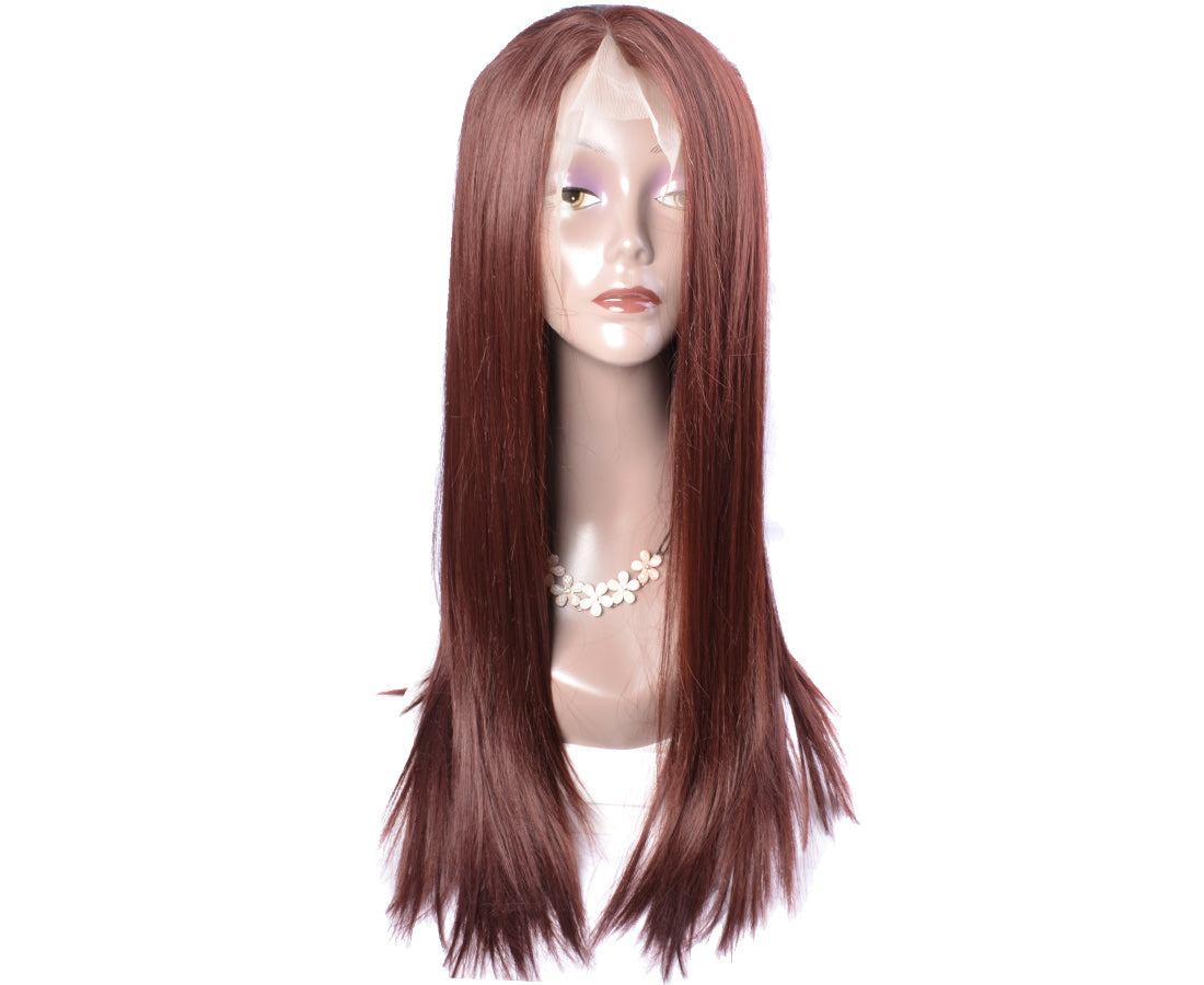 synthetic Lace Wigs #33 dark auburn brown color straight wigs front show in description