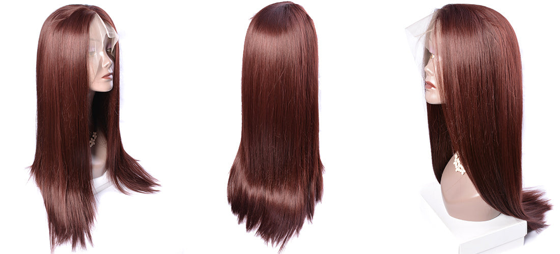 synthetic Lace Wigs #33 dark auburn brown color straight wigs side show in description