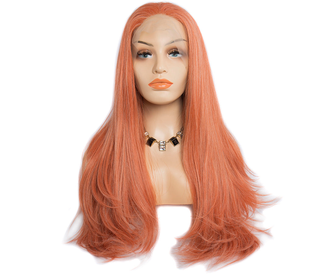 synthetic lace wigs orange color natural straight wigs front show in description