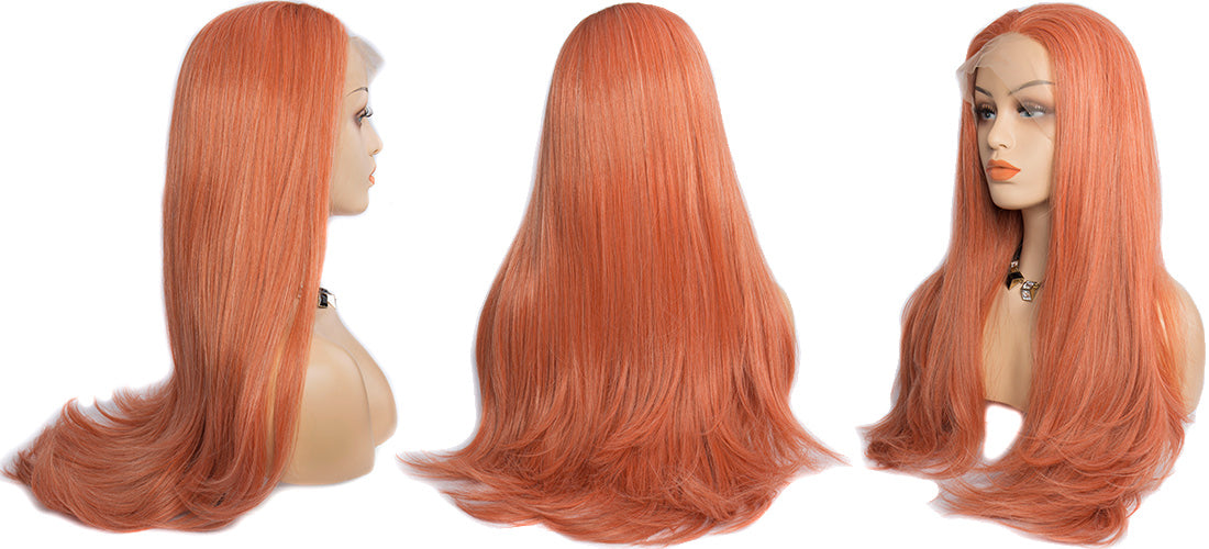 synthetic lace wigs orange color natural straight wigs side show in description