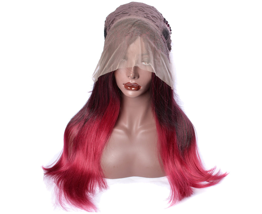 synthetic lace wigs 99j/red color natural straight wigs front cap show in description
