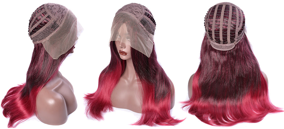 synthetic lace wigs 99j/red color natural straight wigs cap side show in description