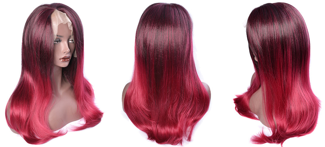 synthetic lace wigs 99j/red color natural straight wigs side  show in description